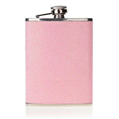 Stainless Steel 8oz Pink Alcohol Drinks Liquor Whisky Hip Flask