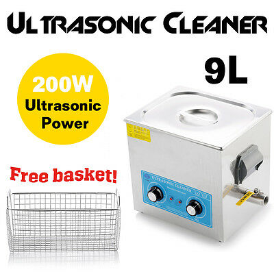 9L Professional digital Ultrasonic Cleaner With Timer + Heating Basket Stainless