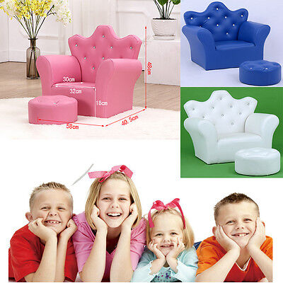 Princess Crystal Girl Sofa armchair couch baby kids toddler PU Leather W` Stool