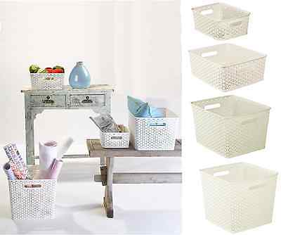 Curver Nestable Rattan Basket White Pick Size