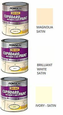 Ronseal One Coat Melamine MDF Paint Wood Kitchen Cupboard Paint White Ivory 750m