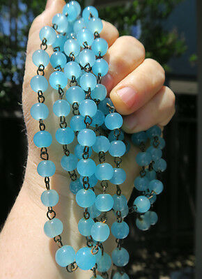 1 foot glass bead macaroni prism chain strand part Opaline Blue brass for lamp