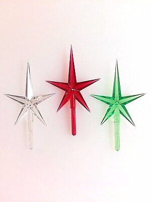 "Ceramic Christmas Tree RED GREEN CLEAR MODERN MEDIUM STAR TOPPERS 1.75"" Wide"