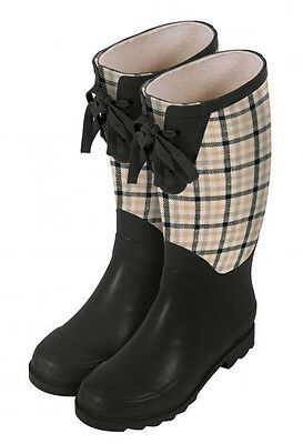 Laura Ashley Wellington Rubber Boots - Mitford Check - Rain and Garden Boots