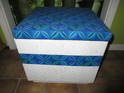 Vintage 1970's Funky Stool Laundry Box Basket Pouffe Cube original fabric 70`s