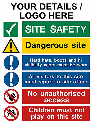 Personalised site safety sign, Building board, construction site, Any text logo