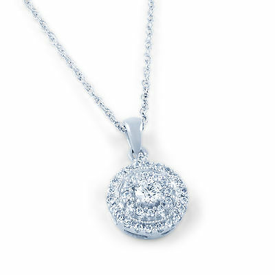 Best Seller 9ct/18ct White Gold Cluster 0.48ct Diamond Pendant Chain Jewelry New