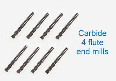3mm end mills -4 FLUTE x8 carbide endmills joblot milling, cutter,model engineer