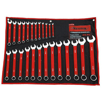 25pc Metric combo spanner combination set ring open ended 6mm 32mm Soft Grip