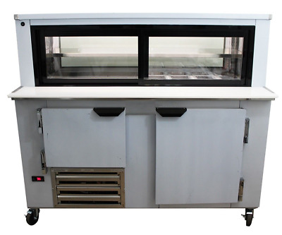Cooltech 1-1/2 Door Glass Box Display Refrigerated Sandwich Prep Table 48""