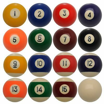 """POOL BALLS Spots and Stripes Size 2 1/2"""" or 2 1/4"""" Set of 16"""