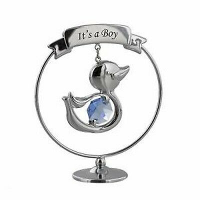 "Crystocraft duck ""It's a boy"" new baby gift decoration with blue Crystal SP261"