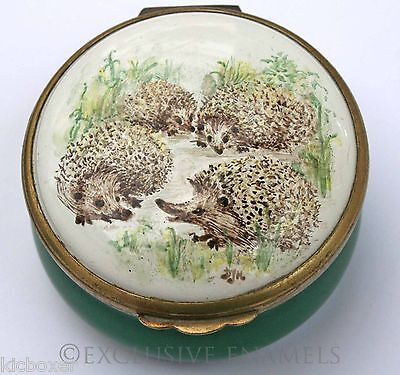 Bilston & Battersea Halcyon Days Enamels Hedgehogs Enamel Box