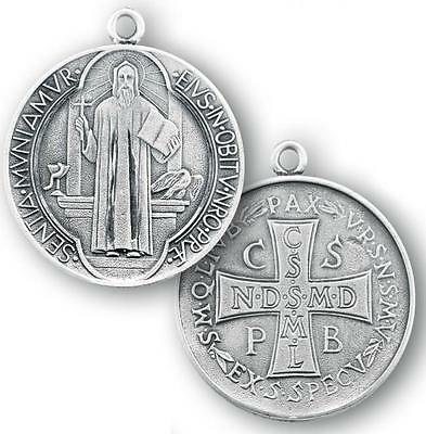 """MRT Sterling Silver St Benedict 1 1/2"""" Round Engraved Medal on 27"""" Steel Chain"""