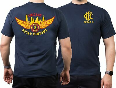 T-Shirt navy, Chicago Fire Dept.-Squad 3 Eagle Wings Skyline mit altem Emblem