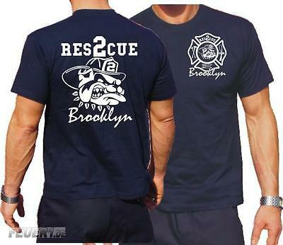 T-Shirt navy: Resc. 2 fire fighting bulldog