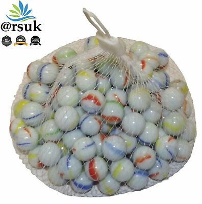100PC HI-QUALITY MILKY Coloured MARBLES Kids Glass Toys Traditional Games Party