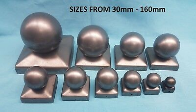 Steelmetal Square Fence Post/railing Cap With Ball Top 40 50 60 70 80 90 100 110