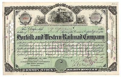 1886 Norfolk & Western Railroad Co. New York Stock Certificate No. 2743