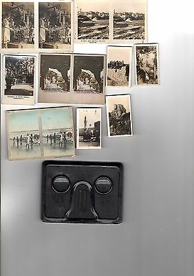 Antique Stereoscopic Cigarette Cards Ass Makes: 12 Pairs ; 5 Odds; + Rare Viewer