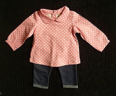 Baby clothes GIRL 0-3m pink heart dress-style top/leggings 2nd item post-free!