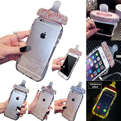Baby Bottle Shape with Diamond Bling TPU Case Cover for Apple iphone 6s 7 8 Plus