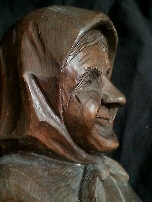 Vintage German Black Forest hand carved bust of an Old Lady, 6.5 inches