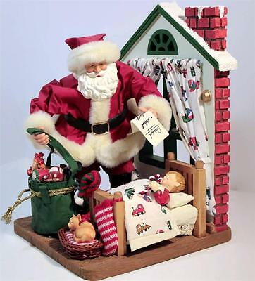Night Before Christmas Figurines Santa by Child's Bed Large Decoration