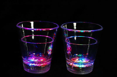 Set of 2 Light Up MultiColor LED Shot Glasses- Fast USA Shipping!