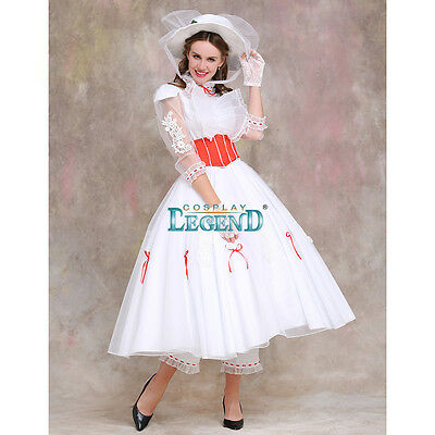 Mary Poppins Dress Cosplay Costume (Umbrella and Shoes not included)
