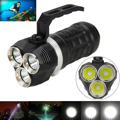 Underwater 200M 9000LM 3x XM-L2 LED Handheld Scuba Diving Flashlight Torch LAMP