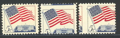 US 1208 normal & 2 different misperfed stamps - mnh 5 cents White House EFO