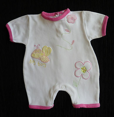 Baby clothes GIRL 0-3m Gorgeous velour 100% cotton romper bugs/flowers NEW!