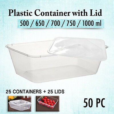 Take Away Containers 25 Pc & Lids 25 Pc  Disposable Plastic Food Containers Bulk