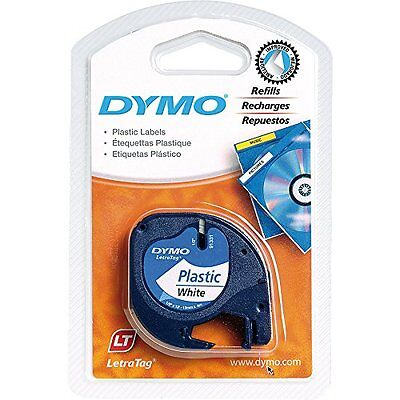 """DYMO Labeling Tape, LetraTag Labelers, Plastic, 1/2""""x13', Black on White"""