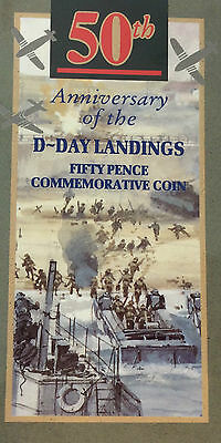 1994 50p Pence D-Day Landings  Brilliant Uncirculated Coin Presentation Pack