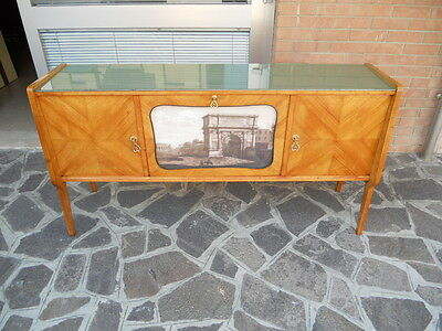 LOVELY VINTAGE ITALIAN SIDEBOARD CABINET BAR FROM 50s WITH PRINT OF ROME