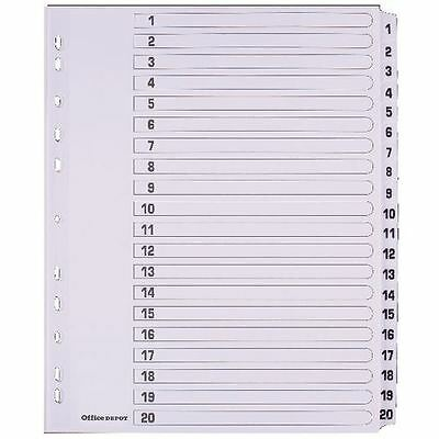 Office Depot punched Dividers A4 Extra Wide 1-20 Numeric White