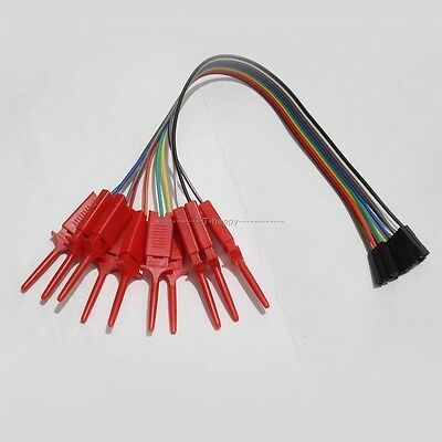 10pcs X Test Hook Clip  + dupont cable FOR Arduino UNO R3 Logic Analyser TEST IC