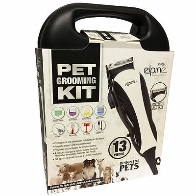 13Pc Professional Pet Hair Clipper Animal Grooming Kit Dog Cat Fur Trimmer 31028