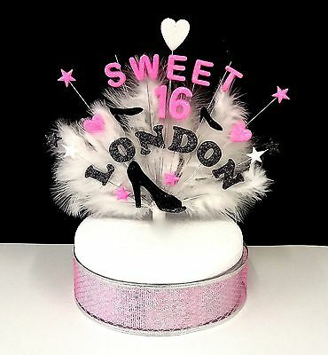 SWEET 16 shoe, heart and feather  Birthday/Celebration cake topper