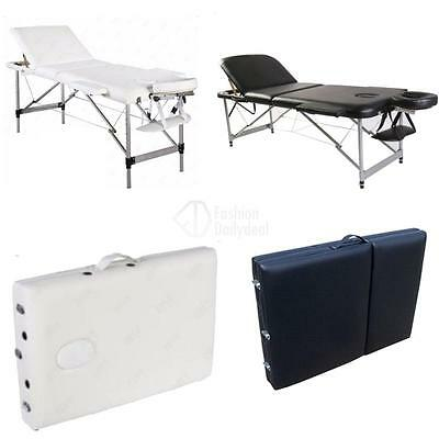 Aluminium 3 Section Portable Massage Table Beauty Therapy SPA Bed Black/White