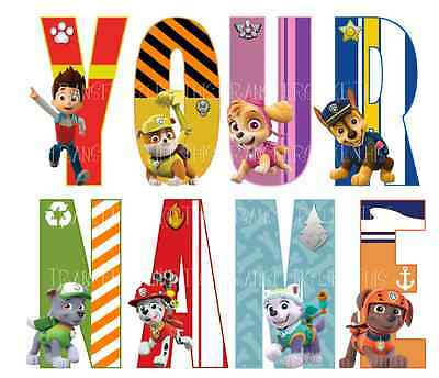 PAW PATROL LETTER NAME WALL STICKERS DECO DECAL 3 SIZES PERSONALISED lot PT