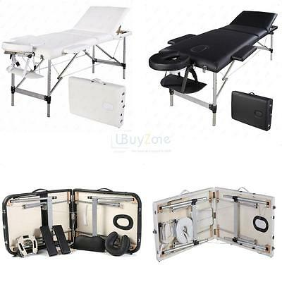 NEW Black Portable Aluminium Massage Table 3 Fold Beauty Bed Therapy Waxing 73cm