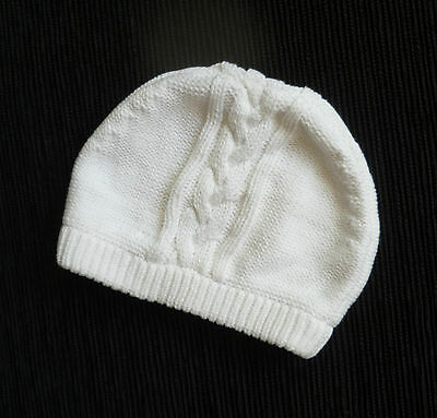 Baby clothes BOY GIRL 3-6m white Miniclub unlined cotton knitted hat SEE SHOP!