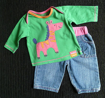 Baby clothes GIRL 0-3m M&S brights pink/orange zebra green top/denim jeans NEW!