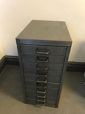 Vintage Industrial Stripped Metal 10 Drawer Filing Cabinet Storage