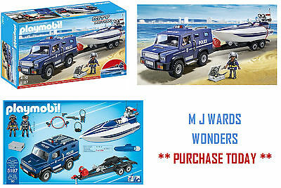 Playmobil City Action 5187 Police Truck with Speedboat ** GREAT GIFT **