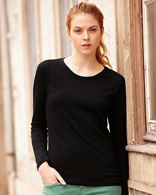 Fruit of the Loom SS049 Ladies Fitted Value Long Sleeve T Shirt  Size XS-2XL