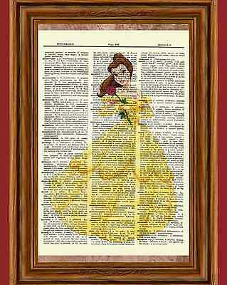 Belle Dictionary Art Print  Poster Picture Disney Princess Beauty and the Beast